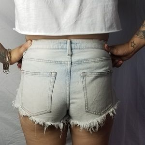 Destroyed High Waist Denim Shorts Size 26